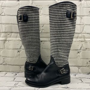 Browns leather houndstooth boots - like new